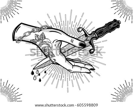 Traditional tattoo flash hand pierced by the blade.Vintage gothic style inspired art. Vector illustration isolated. Tattoo design, trendy romance symbol for your use.