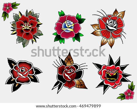 Traditional Tattoo Flowers Set Ink Roses Tattooing Collection