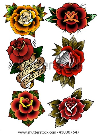 traditional tattoo flowers set