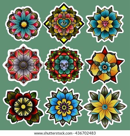 traditional tattoo flowers set