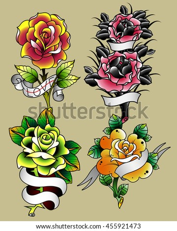 Traditional Tattoo Flowers Set Roses and Ribbons