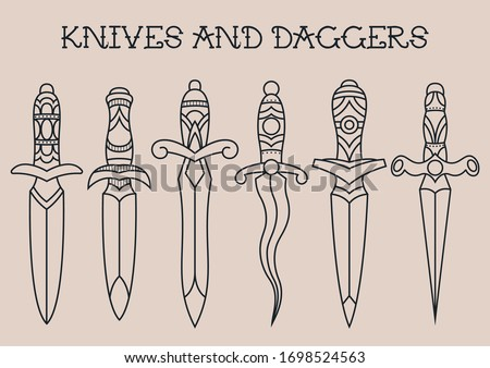 Traditional Tattoo Knives and Daggers  Sketches  Сток-фото ©