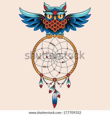 Traditional tattoo owl hold dream catcher symbol