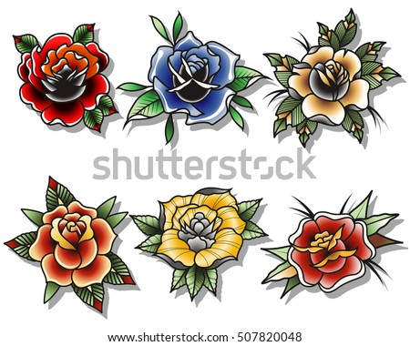 Traditional Tattoo Roses Set Tattooing Drawing Flowers Flash Collection