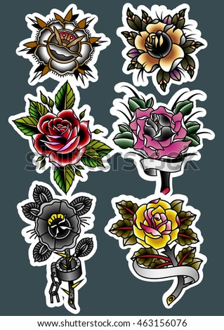 Traditional Tattoo Roses Set Vintage Tattooing Flowers Art
