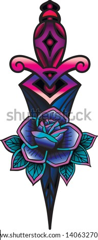 Traditional tattoo with rose flowers and dagger knife. Colorful Tattoo.Vector illustration Old school tattoo line art. Suitable for printing transfer tattoos and stickers back to school