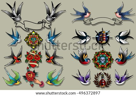 Traditional Tattooing Style Swallows Set Birds, Sparrows Drawing Collection, Tattoo Ink Old School Retro Vintage Wings