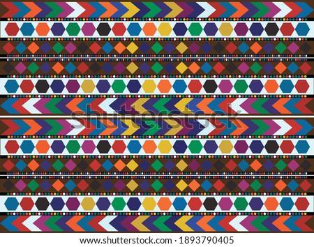 Traditional Textile Design of Ajrak Shawl, Sindhi Ajrek Design for Modern Advertising Campaign. Cultural Vintage Tent Design from India, Bangladesh and Pakistan.  Stock fotó ©