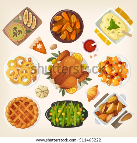 Traditional thanksgiving dinner table closeup. Top view on classic thanksgiving eating. Holiday food on a table view from above. Pilgrim cuisine dishes with stuffed turkey, apple pie and pumpkin pie