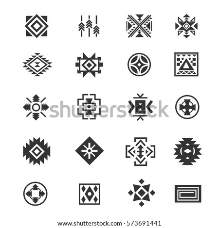 Traditional tribal mexican symbols. Navajo ethnic culture vector tattoo icons for print. Set of indian and aztec geometrical signs illustration