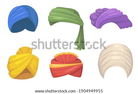 Traditional turbans set. Indian and Arabic hats, colorful sikh headgear fires isolated on white. Vector illustration for India, Asian fashion, culture, ethnic clothes concept Stockfoto ©