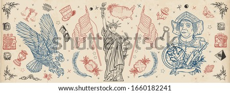 Traditional USA tattooing elements. United States of America. Patriotic art. Statue of liberty, eagle, flag, map. History and culture. Old school tattoo vector collection