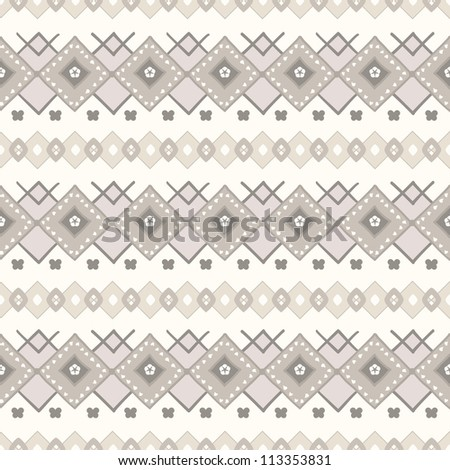 Traditional vector pattern with brown and beige design elements in nordic style