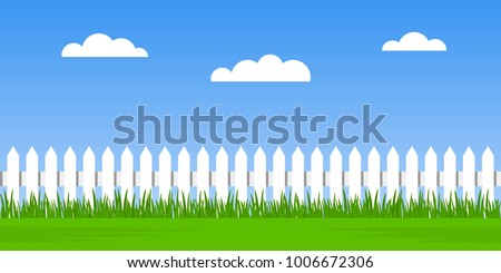 Traditional white fence with green grass against a cloudy sky background. summer landscape seamless. flat vector illustration isolated on white background