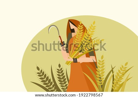 Traditionally dressed Indian woman holding harvested wheat and sickle in her hand Foto stock ©