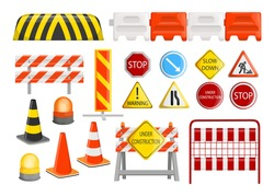 Traffic barriers collection. Roadblocks, barricades, with warning alert signs for road construction works. Vector illustration for city street repair works, danger, caution concept