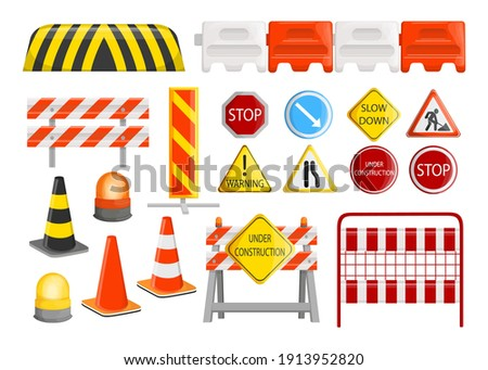 Traffic barriers collection. Roadblocks, barricades, with warning alert signs for road construction works. Vector illustration for city street repair works, danger, caution concept Foto stock ©
