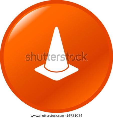 traffic cone button - stock vector