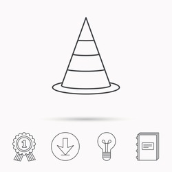 Traffic cone icon. Road warning sign. Download arrow, lamp, learn book and award medal icons.