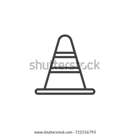 Traffic cone line icon, outline vector sign, linear style pictogram isolated on white. Symbol, logo illustration. Editable stroke