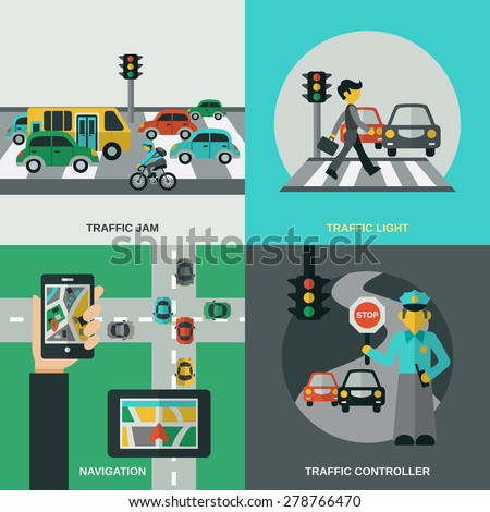 traffic design concept set with