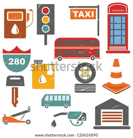 traffic icons in grunge and