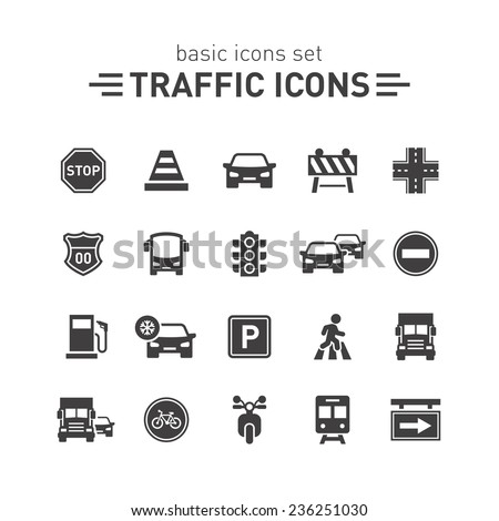 Traffic icons set.