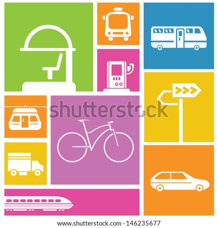traffic icons, transportation icons, color background