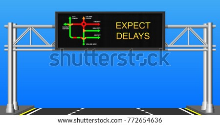 Traffic information display jam delay status highway expressway motorway warn driver motorist caution intelligent electronic led outdoor technology congestion car urban city realtime monitoring system
