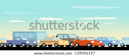 Traffic Jam Background. Global color used.