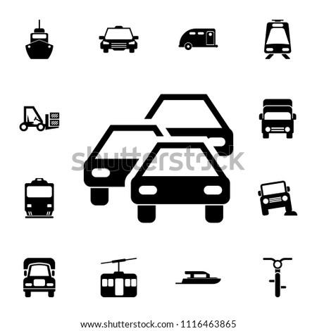 traffic jam icon detailed set