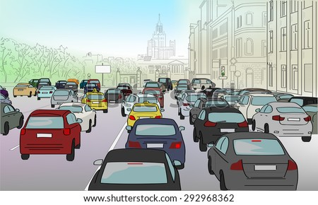 traffic jam of cars on the main