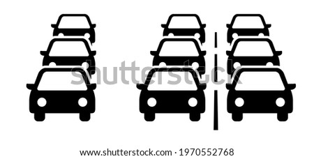 Traffic jam on the road or car rush hours city street. Traffic congestion during rush hour. Flat vector cars on the highway. Car pictogram. For traffic jams web, app or sign board.