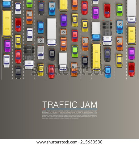 Traffic jam on the road, Road transportation, Vector background