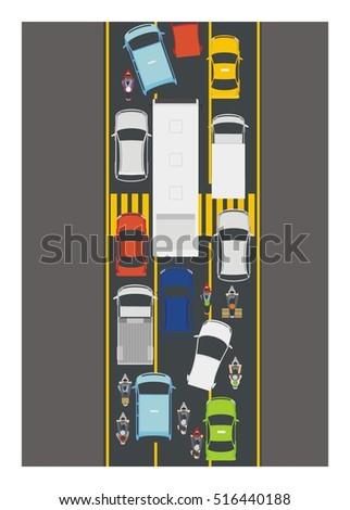 traffic jam simple illustration
