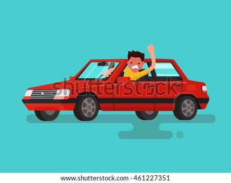 traffic jams angry man swears