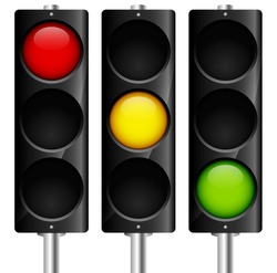 Traffic lamps signals with reflection - vector