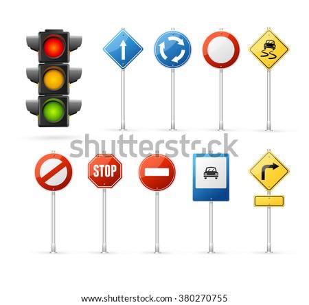Traffic Light and Road Sign Set. Vector illustration