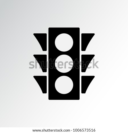 Traffic light icon. Black silhouette on gray background. Vector illustration