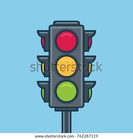 Traffic light icon. Flat style