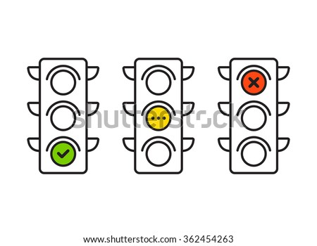 Traffic light interface icons. Red, yellow and green (yes, no and wait). Thin line vector buttons.