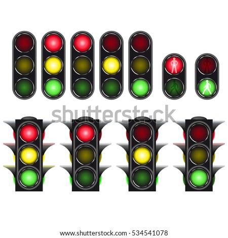 traffic light set isolated on