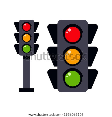 Traffic light to regulate the movement of cars in flat design. Icon on an isolated white background. A tool for regulating traffic on the road. Vector stock illustration