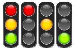 Traffic light, traffic light sequence vector. (Red, yellow, green lights - Go, wait, stop..)