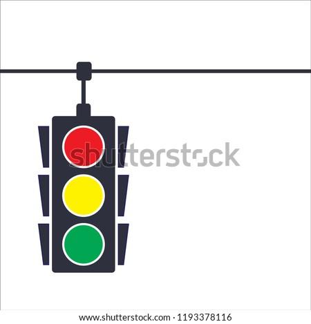 Traffic light, vector illustration on white blackground