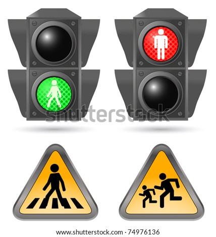 traffic light with road sign