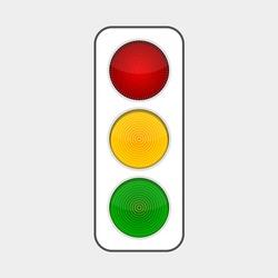 traffic light with three luminous light bulbs