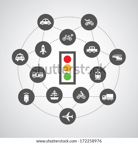 traffic lights and traffic symbol on gray background