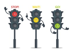 Traffic lights cartoon characters design,  Urban safety signals for children. City safety with traffic control on streets. Semaphores for roads intersection. Vector illustration