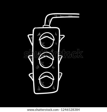 traffic lights doodle icon vector flat black